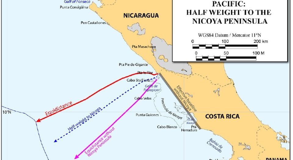 Costa Rica y Nicaragua: una disputa marítima y la controversia por un mapa imaginario